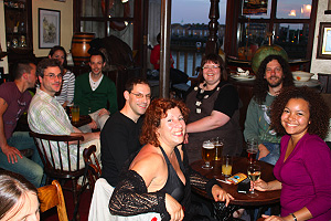 In the pub after recording: Nathan, Sam, Michelle, Nigel, David, Julie, Tash, Johnny and Ruth.