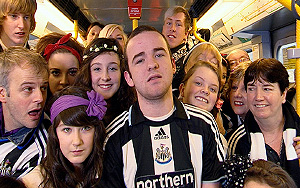 Newcastle fans on the Metro
